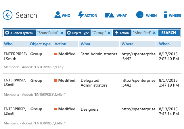 Find valuable details on any SharePoint change using Interactive Search