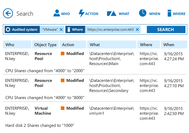 Investigate VMware security incidents with Interactive Search